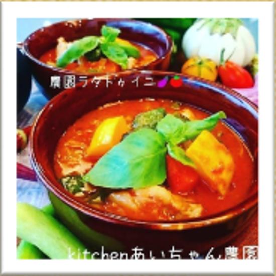夏野菜のラタトゥイユ (イタリアナスの方は十分な油で炒めるか素揚げする。)のイメージ